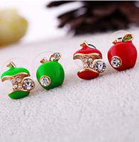 apple green earrings - Stud Earrings jewelry retro glaze red apple asymmetric earrings colored glaze Asymmetric stud earrings Red Green Apples Earing Ear Acc