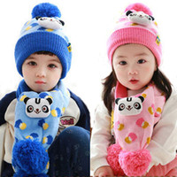 baby panda suit - Retail Unisex Children Cute Panda Printed Beanies Bobble Hat Set Baby Kids Knitted Caps and Scarf Warm Suit Set MZ3086