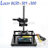 Cheap 863D rework station Constant temperature desoldering AIR GUN Soldering Station+300 soldering iron stand+301 support stand