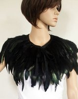 Wholesale New hot AB Black Hand Made Feather Cape Shawl Scarf Performance Dress Costume Cosplay