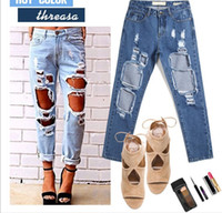 Wholesale Ripped Jeans With Holes Woman American Apparel Ladies Denim Shorts Skinny Womens Jean Pants Sexy Disco Leggings New
