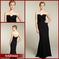 Wholesale Long Black bridesmaid Dresses Sheath sweetheart Floor Length Lace chiffon Handmade Flower Evening gowns Sexy