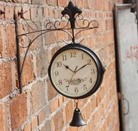 bell bracket - European Vintage Classic Double Face Cast Metal Wall Clock Art Clock w Hanging Bracket Bell For Home Decor