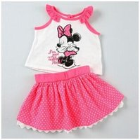 Cheap 10sets CCA2201 2015 New Arrival Minnie Mickey Kids Clothes Summer Outfit Minnie Cotton Dress Mice Girl Summer Set Minnie Dot Skirt Outfit