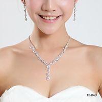 unique jewelry - 2015 Jewelry Set Fashin Unique Wedding Bridal Bridesmaids Alloy Plated Rhinestone Crystal Bridesmaid Prom Necklace Earring Set