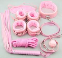 Cheap 7pcs One Set Adult Sex Toys Pink Color Fetish Bondage Restraint Beginner Complete Gear Cuffs Shackles