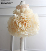 party dresses for baby - 2015 latest big flower girls dresses princess dress for girl children party dress with pearl kids prom dress retail baby wedding dress
