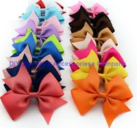 wholesale lace ribbon - 100pcs cm mixed colors Ribbon Bows with Clip solid color bows clip baby hair bow boutique hair accessories girls hair clips