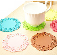Wholesale Fashion Homeware Candy Color Hollow coaster Sweet White Lace Mats Pads cup coaster Silicone Bowl Pad Flower Cup Pad Heat Insulation