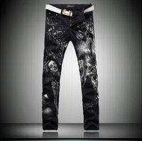 beauty designer pants - 2016 D Beauty Printed Jeans For Men Newfangled Skinny Denim Designer Streetstyle Black Straight Jeans Pants