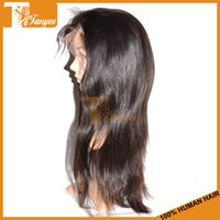 swiss lace wig - 6A Black Human Hair Wigs Brazilian Straight Hair Lace Front Wigs Full Lace Wig With Bangs Remy Virgin Unprocessed Hair Swiss Lace For Women