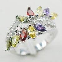 Cheap Amethyst Citrine Garnet Peridot Women 925 Sterling Silver Ring F865 Size 6 7 8 9 10
