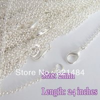 Cheap Hot Sale 100pcs 2mm 24'' Shiny silver plated metal with lobster clasp rolo link chain necklaces for pendant