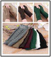 cotton knitted gloves - Fashion Unisex Men Women Knitted Fingerless Winter Gloves Soft Warm Mitten