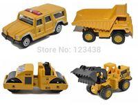 diecast - Mini Metal Alloy Yellow Heavy Duty Truck Dumper Road Roller Toys for Kids Diecast cm