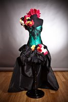 arm dress - Halloween dresses Hi low Green and black lace burlesque prom dress with bustled train head piece and arm piece roses
