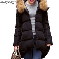 Wholesale 4 Colors White Duck Down Winter Jacket Women New Fashion Skirt Hooded Feathers Solid Slim Long Woman Coat Parka