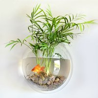 aquarium plant pots - Modern Aquarium Products Wall mounted Fish Tank for Home Decoration Fishbowl Hanging Acrylic Fish Plant Pot Aquarium Bubble Bowl H16233