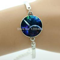 alloy metal tiles - Trendy bracelet for men women Glass tile jewelry Handmade nebula galaxy space charm metal bracelet antique silver bracelet OY