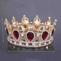 alloy king - King Queen Crown Simulated Red Ruby Stone Sapphire Water Drop Tiaras Women Girl Hair Decoration New Arrival