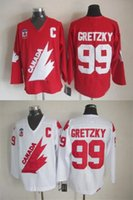 Cheap New 1991 Olympic Team Canada #99 Wayne Gretzky Hockey Jersey Captain Red White Premier Stitched Mens Vintage Throwback Jerseys Free Shipping