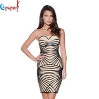 Cheap 2015 women's off shoulder strapless heat seal backing stripes celebrity bandage dress party sexy mini dress drop ship HL4611
