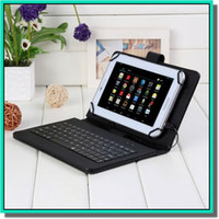 leather case keyboard - 7 quot inchBrand new Leather Tablet Folio keyboard Case Stand Cover For Android Windows OS tablet pc DHL free