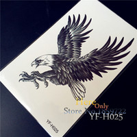 Wholesale attoo Body Art Temporary Tattoos D Large Black Eagle Tattoo Stickers For Men YF H025 White hawk Removable waterproof tattoo fake arm she