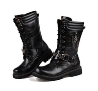 western cowboy boots - 2015 New Men Martin Boots Big Size Military Male Boots Black England Style Chain Skull Men Motorcycle Boots Lace Up