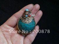 best amulet - TBP448 Nepal brass lovely small Turquoise snuff bottles mm Tibetan amulet pendants best offer