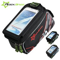 Wholesale 2015 ROCKBROS Riding Bike Frame Front Tube Bag With Waterproof Cover Cycling Pannier Smartphone GPS Touch Screen Case Colors