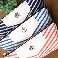 Apply to men and women beauty storage cases - Hot sell creative students naval stripe new flower pencil pen canvas bags storage bags wallet case beauty makeup tools and retail