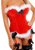 Wholesale 2015 Women Christmas Red Corset Bustiers Sexy Underwear Fantasias Costumes Twinset S XL Drop Shipping