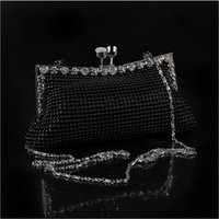 Wholesale latest fashion ladies evening bag shoulder clutch aluminum diamond cat Korean diagonal package