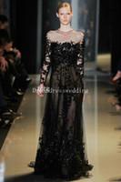 bamboo deco - 2016 elegant elie saab beading long sleeve appliques lace black tulle evening dresses for party custom made vestidos de fiesta