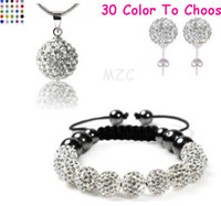 Wholesale Min Mixed Order Gift mm White Crystal Shamballa Set handmade Bracelet Earring Necklace wedding jewelry