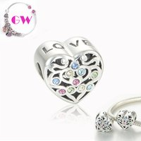 Wholesale crystal love heart silver charms style loose beads fit silver European bracelets No90 X336