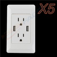 Wholesale 5 Pieces US Plug Universal USB Dual Port Wall Charger AC Power Adapter Outlet Socket Plate for Cellphones PDA MP3