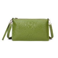 Wholesale 2015 New Fashion Women Crocodile Genuine Leader Shoulder Bag Message Envelope Clutch Casual Cross Body Handbag