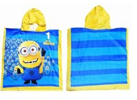 bath hoodies - minion hoodies towel cm cartoon baby kids minions bath towels minons Drying cotton Shower baby cotton bathing towels D1455