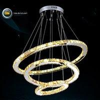 Advanced crystal Luxe LED Amber Crystal Pendant Lights Lampes Plafond Lustres Lighting Lamp Appliques avec 3 Anneaux D507090CM