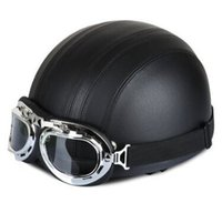 Wholesale PU Leather Motorcycle Helmets Bike Bicycle Helmets Open Half Face with Visor Goggles for Men and Women