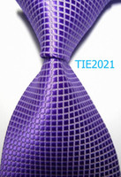 TIE2021 animal print neckties - designers gravata ties for men cm inch width Violet Checked plaid Polyester JACQUARD WOVEN Silk professional Tie formal neckties