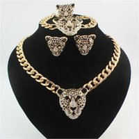 Wholesale Hot Fashion K Gold Plated Rhinestone Black Enamel Leopard Head Necklace Bracelet Ring Earrings Jewelry Sets