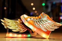 airs rubber usb - HOT NEW children wings USB charging sneakers kids LED luminous shoes boys girls of colorful flashing lights size LED shoes