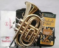 Wholesale Professional quality Authentic Bach Palm Pocket Trumpet musical Tone flat B Bb Brass Horn Trompete Trumpeter Bugle Mute Piccolo