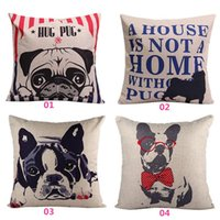 Wholesale New Arrivals Home Textiles Decor Sofa Composite Linen Quadrate Pillow Cover Cushion Case Pillowslip Cute Pug cmx44cm JN1