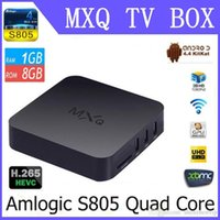 Wholesale MXQ TV BOX Amlogic S805 Quad Core Android Kitkat K HDMI H GB GB XBMC WIFI Airplay Miracast D DHL Free