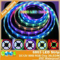 Couleur de rêve magique Avis-DC12V 5m 6803 IC rêve Color Magic 5050 Strip RVB numérique, 30LED / m IP67 étanche SMD Intelligent Light Strip