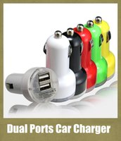 Cheap usb dual ports car charger 2.1A output auto power adapter 2 interface for iphone 4 5 ipad samsung ipod colorful wall charger CAB015